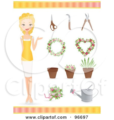 Royalty-Free (RF) Clipart Illustration of a Blond Female Florist With Wreaths, Pots, Plants And Gardneing Tools by Melisende Vector