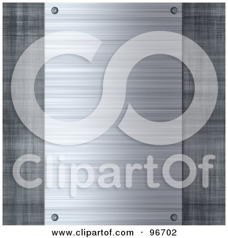 Royalty-Free (RF) Clipart Illustration of a Riveted Brushed Metal Plaque Over Metal by Arena Creative