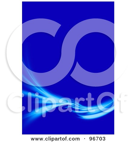 Royalty-Free (RF) Clipart Illustration of a Blue Swoosh Turning And Spreading Over A Vertical Blue Background by Arena Creative