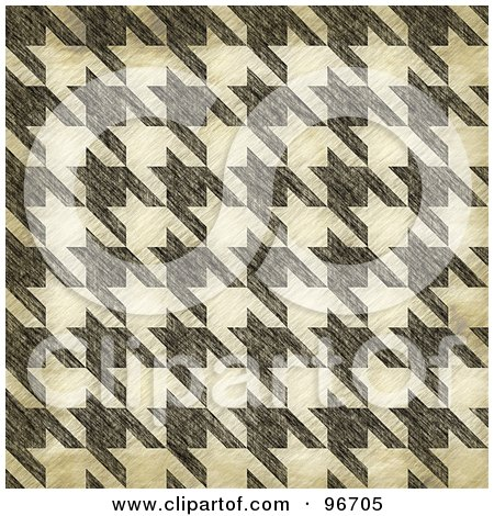 Royalty-Free (RF) Clipart Illustration of a Grungy Textured Seamless Houndstooth Patterned Background by Arena Creative
