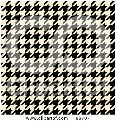 Royalty-Free (RF) Clipart Illustration of a Cream And Black Tight Seamless Houndstooth Pattern Background by Arena Creative