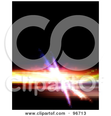Royalty-Free (RF) Clipart Illustration of a Funky Colorful Halftone Fractal Bar On Black by Arena Creative