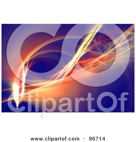 Royalty-Free (RF) Clipart Illustration of an Orange Light Fractal Over Blue by Arena Creative