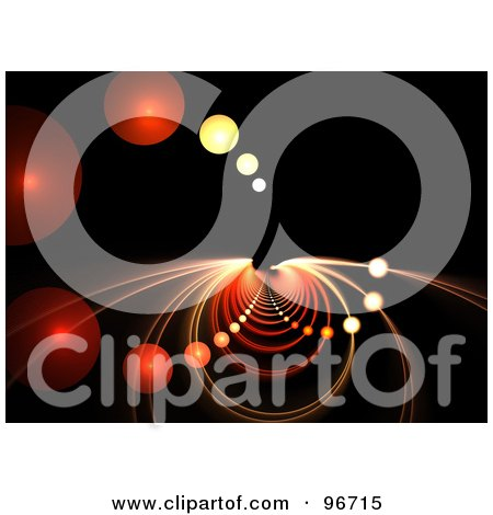 Royalty-Free (RF) Clipart Illustration of a Background Of Fractal Orbs And Half Circles Forming A Vortex On Black by Arena Creative