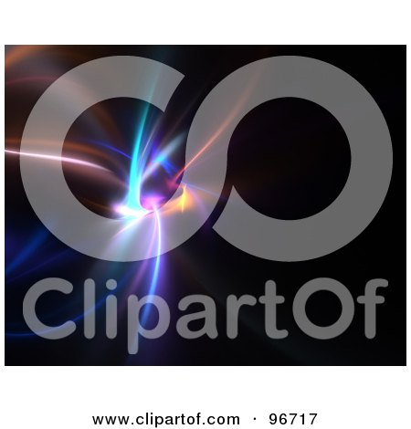 Royalty-Free (RF) Clipart Illustration of a Colorful Blurred Light Fractal On Black by Arena Creative