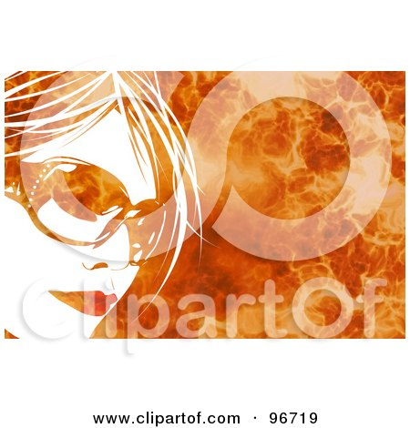 Royalty-Free (RF) Clipart Illustration of a White Womans Face Wearing Shades Over A Fiery Background by Arena Creative