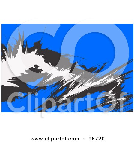 Royalty-Free (RF) Clipart Illustration of a Blue Background With Funky White And Black Markings by Arena Creative