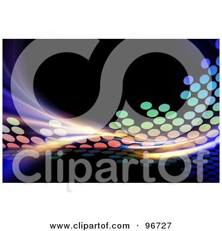 Royalty-Free (RF) Clipart Illustration of a Colorful Fractal And Equalizer Background On Black - 2 by Arena Creative