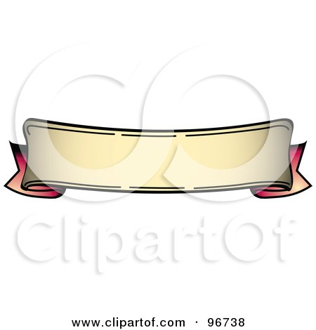 Royalty-Free (RF) Clipart Illustration of a Bottom Curved Red And Tan Blank Banner Tattoo Design by Andy Nortnik