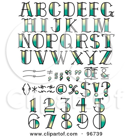 Royalty-Free (RF) Clipart Illustration of a Digital Collage Of Green And Yellow Tattoo Styled Numbers, Letters And Symbols by Andy Nortnik