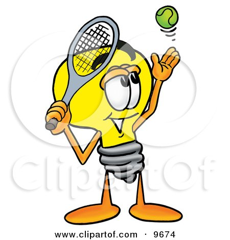 Clipart Picture of a Light Bulb Mascot Cartoon Character Preparing to Hit a Tennis Ball by Toons4Biz