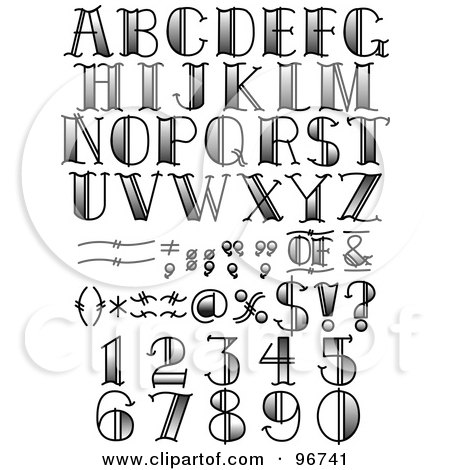 Royalty-Free (RF) Clipart Illustration of a Digital Collage Of Black And White Tattoo Styled Numbers, Letters And Symbols by Andy Nortnik