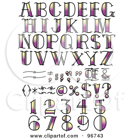 Royalty-Free (RF) Clipart Illustration of a Digital Collage Of Purple And Yellow Tattoo Styled Numbers, Letters And Symbols by Andy Nortnik
