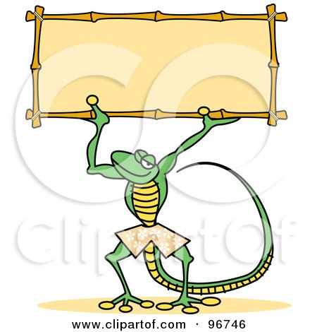 Royalty-Free (RF) Clipart Illustration of a Skinny Green Gecko Wearing Shorts And Holding Up A Sign by Andy Nortnik
