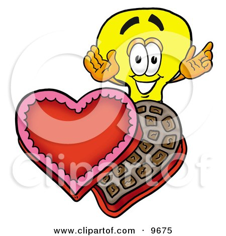 Clipart Picture of a Light Bulb Mascot Cartoon Character With an Open Box of Valentines Day Chocolate Candies by Toons4Biz