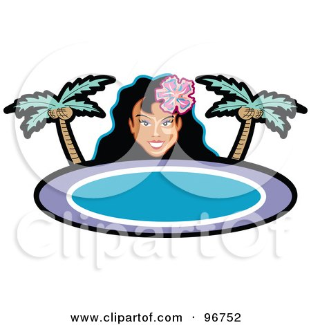 Royalty-Free (RF) Clipart Illustration of a Pretty Hula Girl Looking Over A Blank Palm Tree Sign by Andy Nortnik