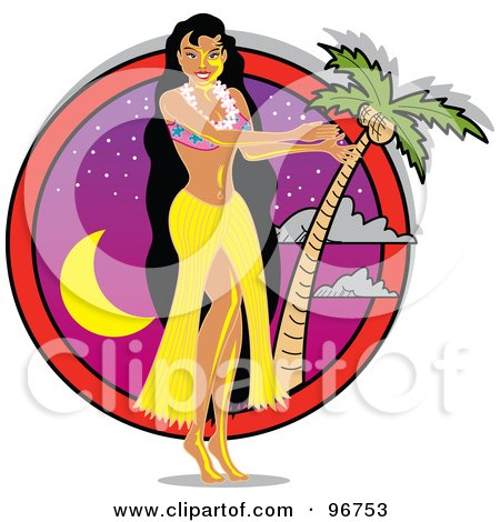 Royalty-Free (RF) Clipart Illustration of a Hula Girl In A Yellow Skirt, Dancing Near A Palm Tree At Dusk by Andy Nortnik