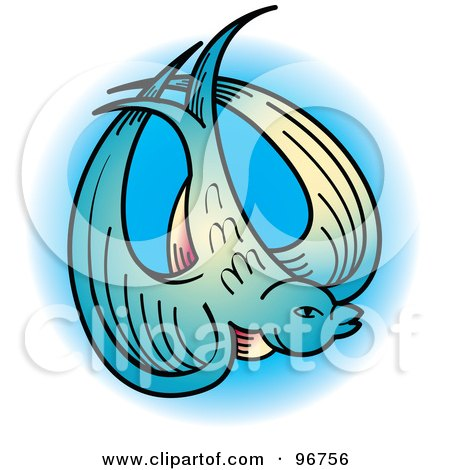 Royalty-free clipart picture of a blue swallow tattoo design,