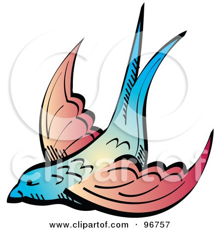 Royalty-free clipart picture of a blue and pink tattoo swallow design,