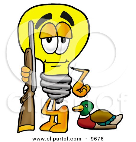 Clipart Picture of a Light Bulb Mascot Cartoon Character Duck Hunting, Standing With a Rifle and Duck by Toons4Biz