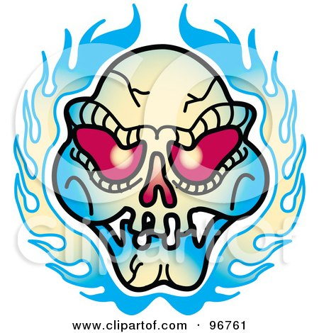 Royalty-Free (RF) Clipart Illustration of a Red Eyed Evil Skull And Flames Tattoo Design by Andy Nortnik