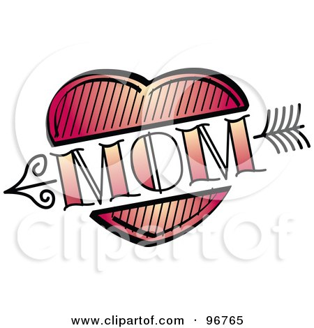 Royalty-Free (RF) Clipart Illustration of a Red Heart And Arrow Mom Tattoo Design by Andy Nortnik