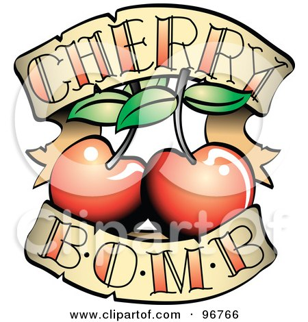 Royalty-free clipart picture of a cherry bomb banner and fruit tattoo