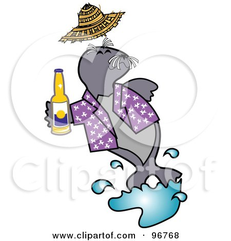 Royalty-Free (RF) Clipart Illustration of a Happy Seal Drinking Beer And Wearing A Purple Shirt by Andy Nortnik
