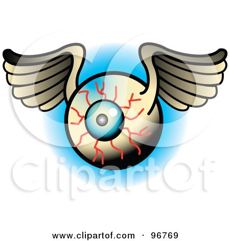 Royalty-free clipart picture of a winged bloodshot eyeball tattoo design,