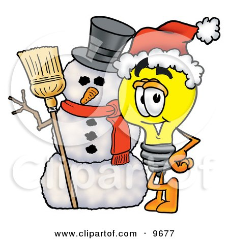 Clipart Picture of a Light Bulb Mascot Cartoon Character With a Snowman on Christmas by Toons4Biz