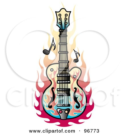 Royalty-Free (RF) Clipart Illustration of a Flame Guitar Tattoo Design by Andy Nortnik