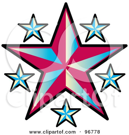 Royalty-Free (RF) Clipart Illustration of a Tattoo Design Of Blue Stars Around A Red Star by Andy Nortnik