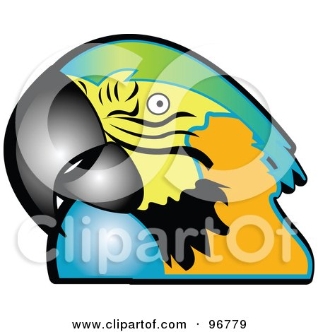 Royalty-Free (RF) Clipart Illustration of a Macaw Parrot With A Green, Yellow, Orange And Blue Face by Andy Nortnik