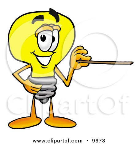Clipart Picture of a Light Bulb Mascot Cartoon Character Holding a Pointer Stick by Toons4Biz