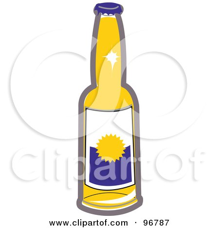 Royalty-Free (RF) Clipart Illustration of a Clear Glass Bear Bottle With A Blank Label by Andy Nortnik