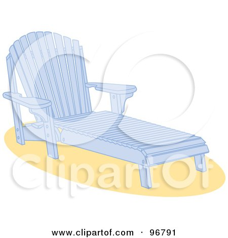 Royalty-Free (RF) Clipart Illustration of a Blue Wooden Beach Lounge Chair On Sand by Andy Nortnik