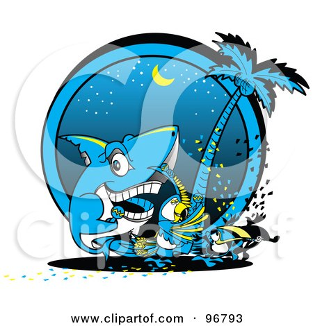 Royalty-Free (RF) Clipart Illustration of a Shark, Parrot And Toucan Dancing At A Beach Party At Night by Andy Nortnik