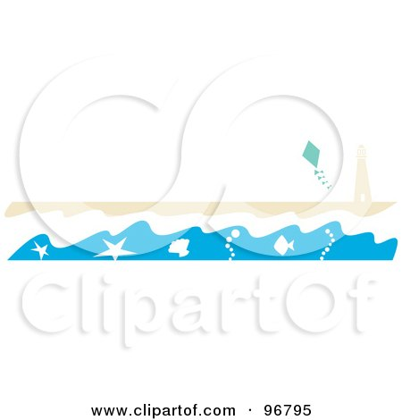 Royalty-Free (RF) Clipart Illustration of a Beach Website Header Or Border With The Surf Washing Up Near A Lighthouse On A Beach And A Kite In The Sky by Andy Nortnik