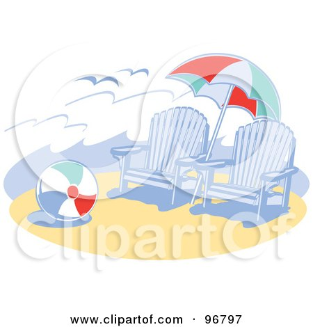 Royalty-Free (RF) Clipart Illustration of Blue Wooden Beach Chairs Under An Umbrella, Near A Ball On The Sand by Andy Nortnik