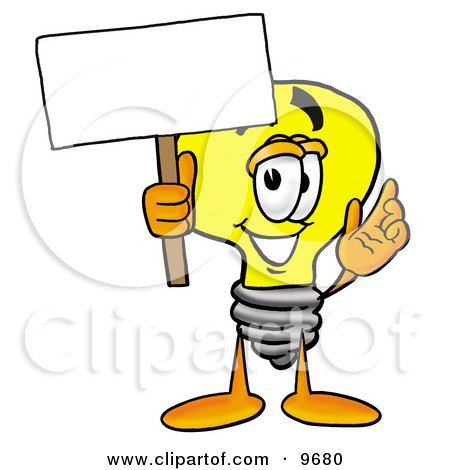 Clipart Picture of a Light Bulb Mascot Cartoon Character Holding a Blank Sign by Toons4Biz