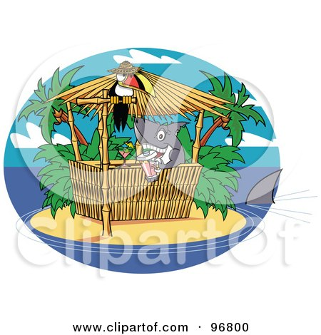 Royalty-Free (RF) Clipart Illustration of a Shark Serving Cocktails At A Tiki Bar On A Tropical Island by Andy Nortnik
