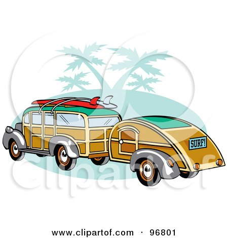 Royalty-Free (RF) Clipart Illustration of a Woody Sedan With Surfboards On The Roof, Pulling A Trailer Over Green With Palm Trees by Andy Nortnik