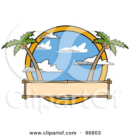 Royalty-Free (RF) Clipart Illustration of a Blank Sign With Palm Trees And Cloudy Skies by Andy Nortnik