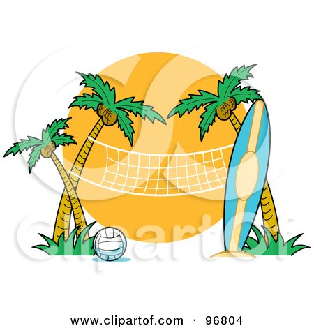 Royalty-Free (RF) Clipart Illustration of a Surfboard Leaning Against A Palm Tree Near A Beach Volleyball Net by Andy Nortnik