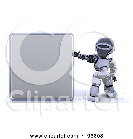 Royalty-Free (RF) Clipart Illustration of a 3d Silver Robot Holding Up A Blank Sign by KJ Pargeter