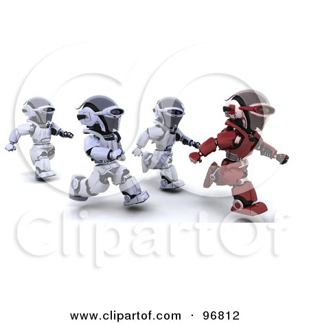 Royalty-Free (RF) Clipart Illustration of a 3d Red Robot Running In Front Of Other Robots by KJ Pargeter