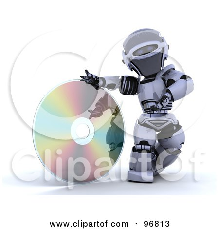 Royalty-Free (RF) Clipart Illustration of a 3d Silver Robot Rolling A Giant CD Or DVD by KJ Pargeter