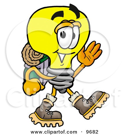Clipart Picture of a Light Bulb Mascot Cartoon Character Hiking and Carrying a Backpack by Toons4Biz