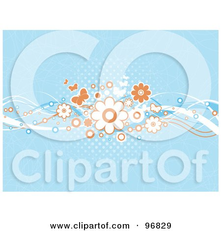Royalty-Free (RF) Clipart Illustration of a Background Of Blue Halftone With Orange And White Butterflies And Flowers by KJ Pargeter