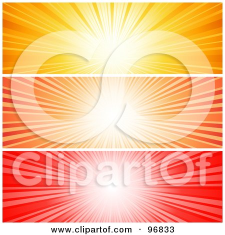 Royalty-Free (RF) Clipart Illustration of a Digital Collage Of Vibrant Yellow, Orange And Red Sunburst Website Headers by KJ Pargeter